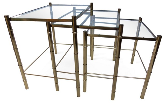 Midcentury Brass Stacking Tables, S/3