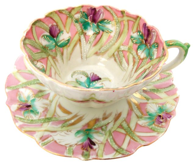 Pink Floral Cup & Saucer
