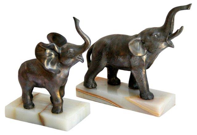 Elephant Figurines on Onyx, Pair