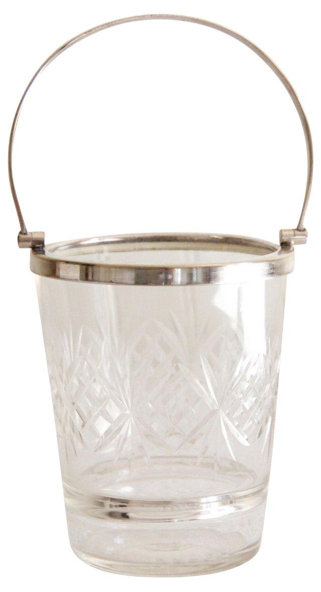 English Crystal & Silver Ice Bucket