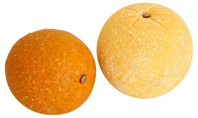 Alabaster Orange & Lemon, Pair