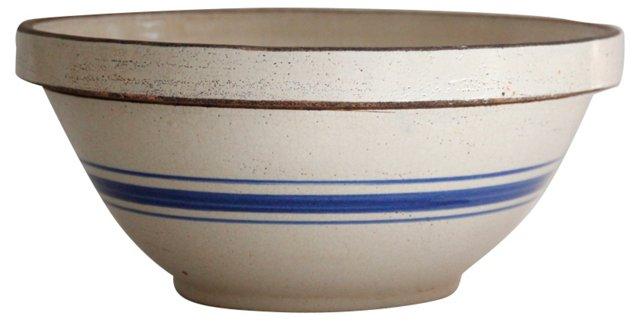 Blue Stripe Stoneware Mixing Bowl