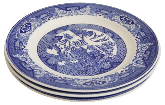 Blue Willow Dinner Plates, S/3