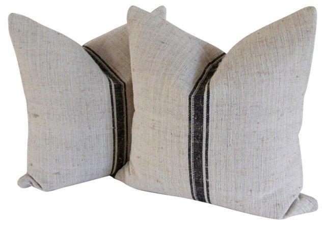 Pillows w/ Antique Linen, Pair