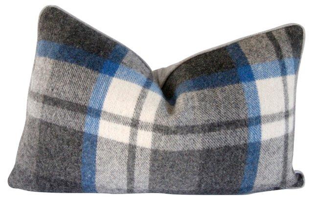 Gray & White Wool Plaid Pillow
