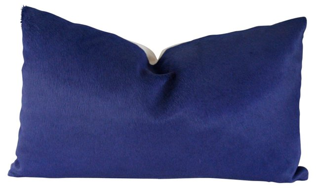 Cobalt Blue Cowhide Pillow