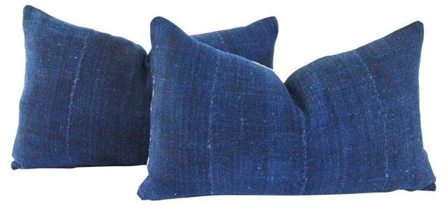Handspun Indigo Lumbar Pillows, Pair
