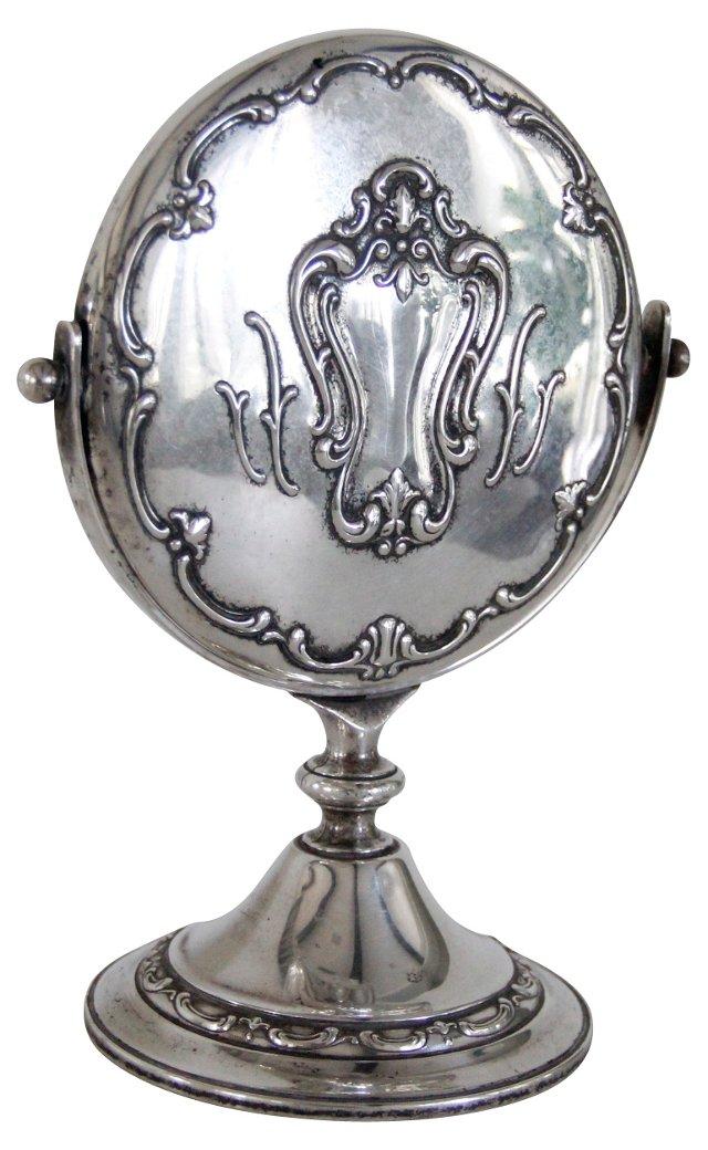 English Silver Vanity Mirror