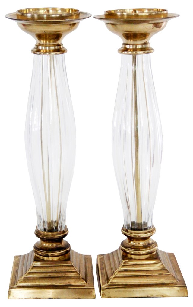 Crystal & Brass Candleholders, Pair