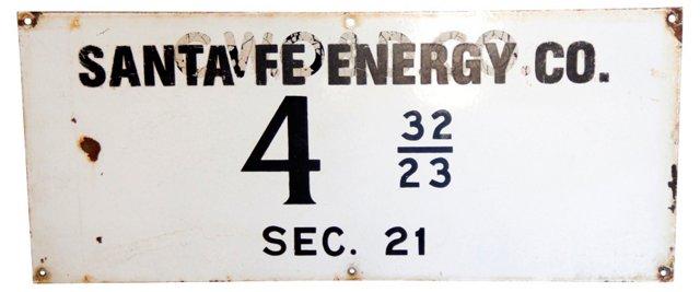Porcelain Santa Fe Railroad Sign