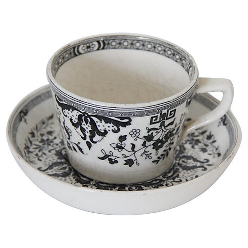 Staffordshire Black & White Cup & Saucer