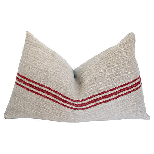 French Herringbone Homespun Linen Pillow