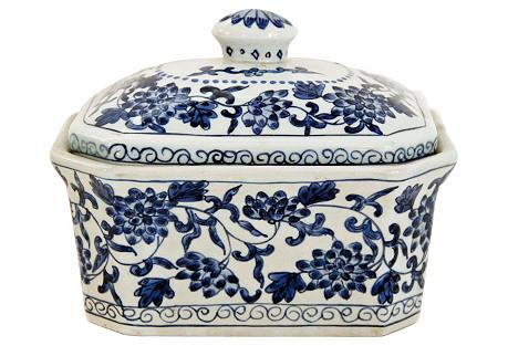 Blue & White Ceramic Covered Pot