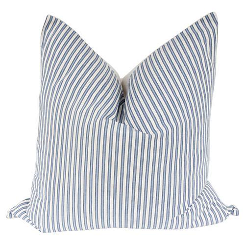 Blue French Ticking & Linen Pillow