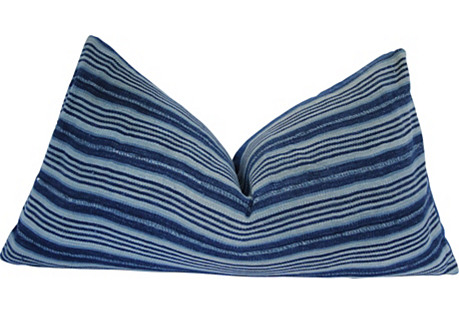 African Duo Indigo Stripe & Solid Pillow