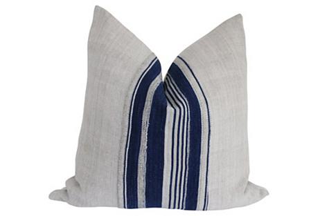 Flax French Linen & Mali Stripe Pillow