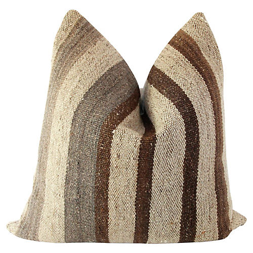 Antique Wool Kilim & French Linen Pillow