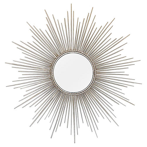 Polished Nickel Sunburst Convex Mirror