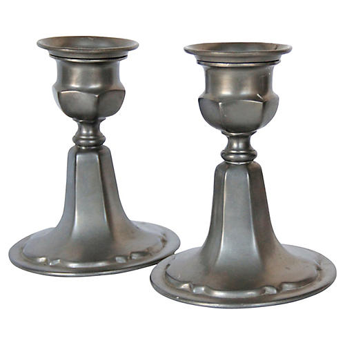French Pewter Candleholders, Pair