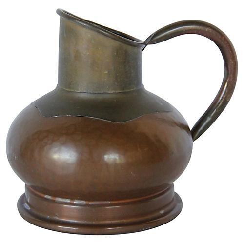 19th-C. Belgian Copper Cream Pitcher