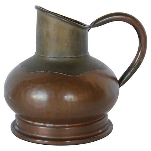 19th-C. Belgian Copper Cream Pitcher