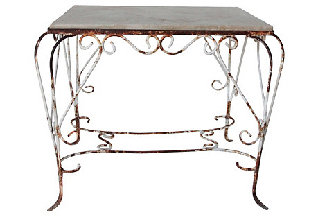French Iron & Concrete Garden Table