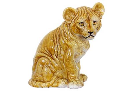 Midcentury Italian Terracotta Lion Cub