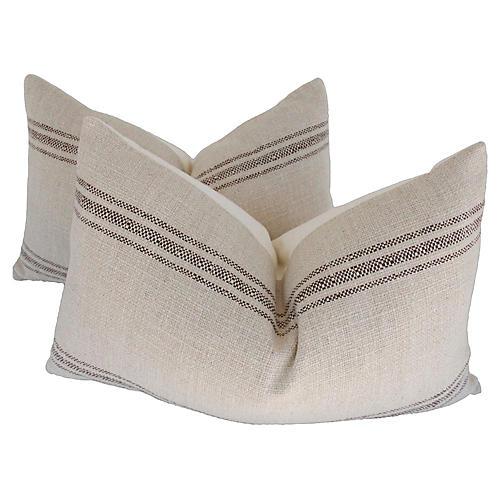 Belgian Railroad Stripe Pillows, Pair