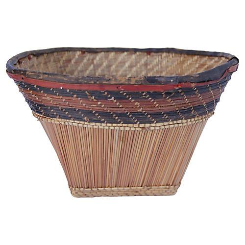Burkina Faso Leather & Bamboo Basket