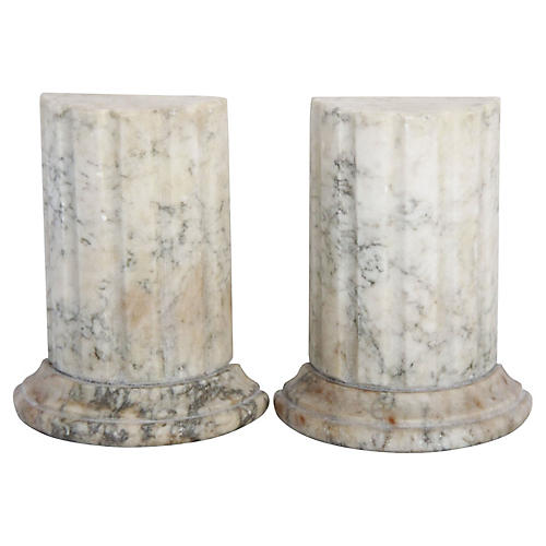 Honed Marble Column Bookends
