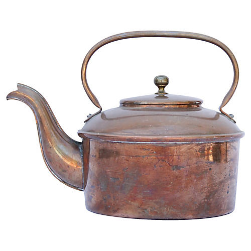 French Copper Teapot