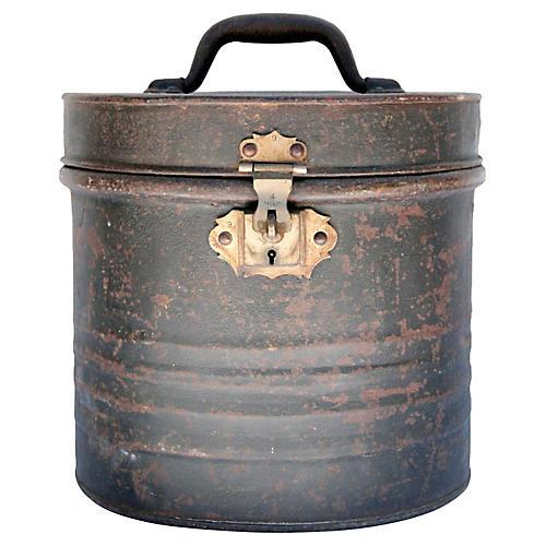 19th-C. British Metal Hat Box