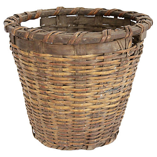 19th-C. Splint & Bamboo Basket