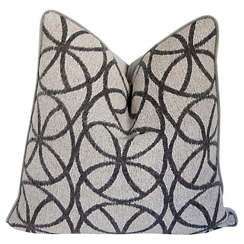 Charcoal Geometric Wool & Velvet Pillow