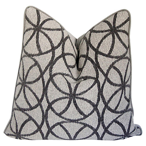 Charcoal Geometric Wool & Velvet Pillow