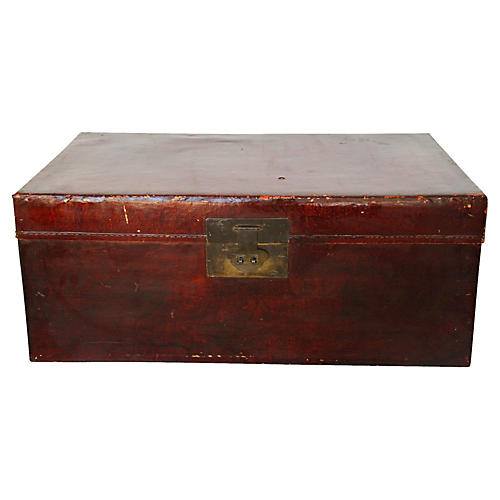 Chinese Leather Trunk, C. 1900