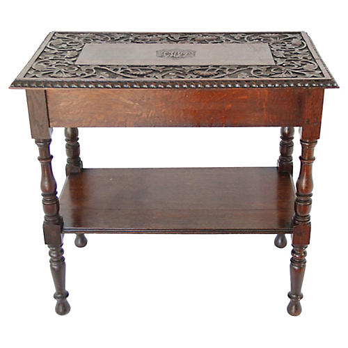 English Carved Side Table, C. 1900
