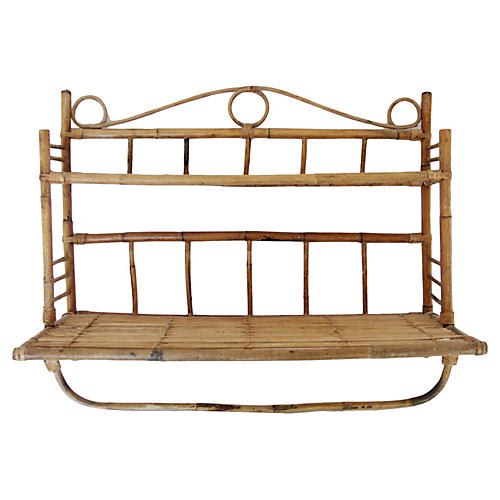 Rattan & Bamboo Shelf w/ Towel Bar