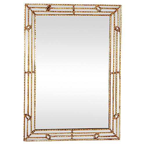 Midcentury Faux-Bamboo Giltwood Mirror