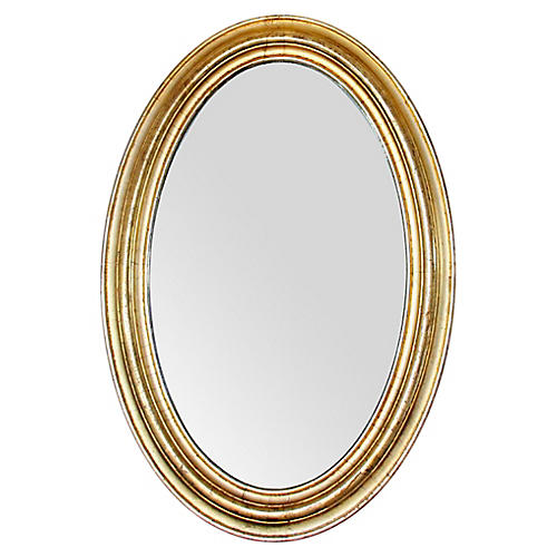 19th C. French Gold Leaf Oval Mirror