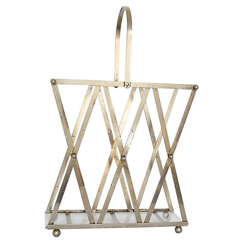 1940s Chrome & Glass Magazine Rack