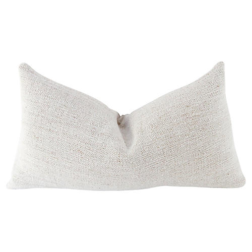19th-C. Herringbone Linen Lumbar Pillow