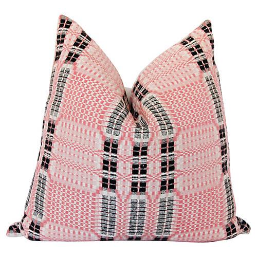 19thC Pink Wool Coverlet & Linen Pillow