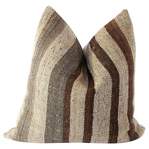 Wool Kilim & French Linen Pillow