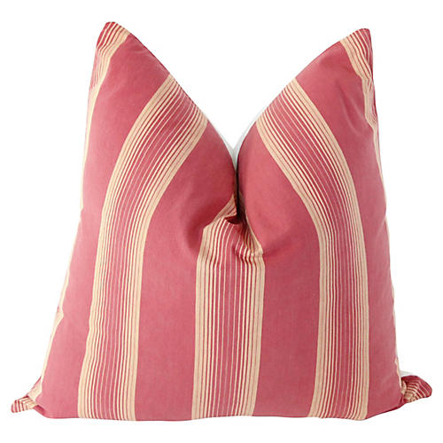 Rose Pink French Ticking & Linen Pillow