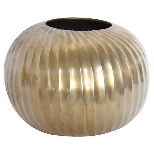 Midcentury Brass Sphere Vase
