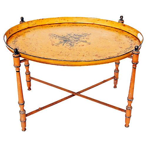 Italian Neoclassic Tole Tray Table