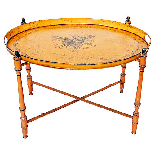 Italian Neoclassic Tole Tray Table