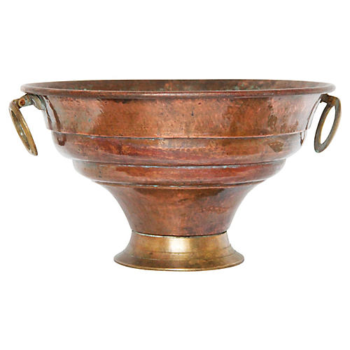 Large Antique French Copper Bowl