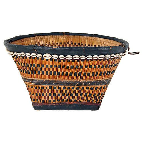 Large Nigerian Leather & Shell Basket